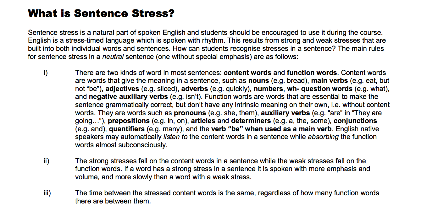 Instructors guide to sentence stress