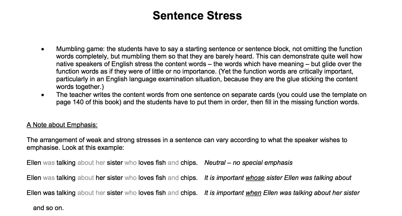 Let's Talk! Instructors' Guide to Sentence Stress | LOI Calendar