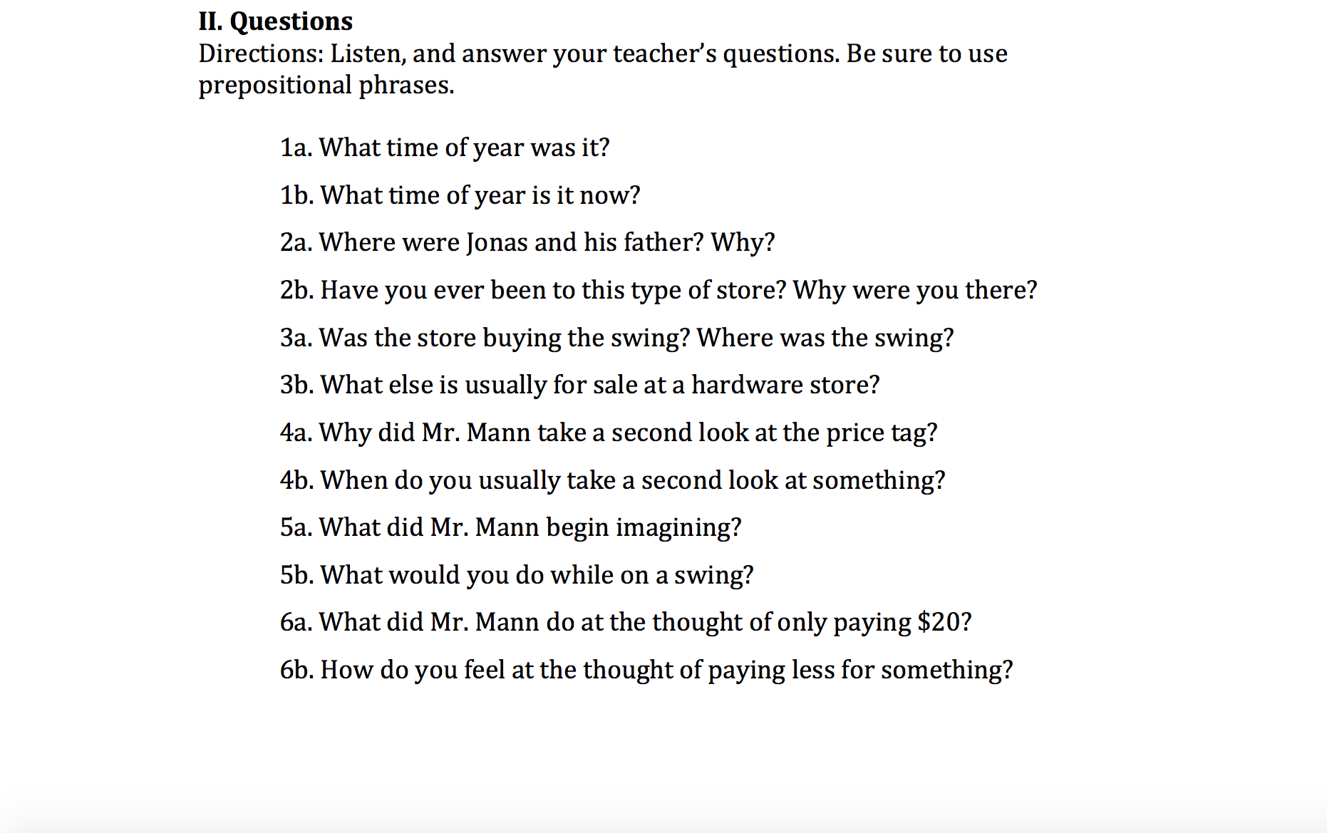 worksheet Past Tense Questions Worksheet the swing reading and wh questions in simple past 25 minute lesson lesson