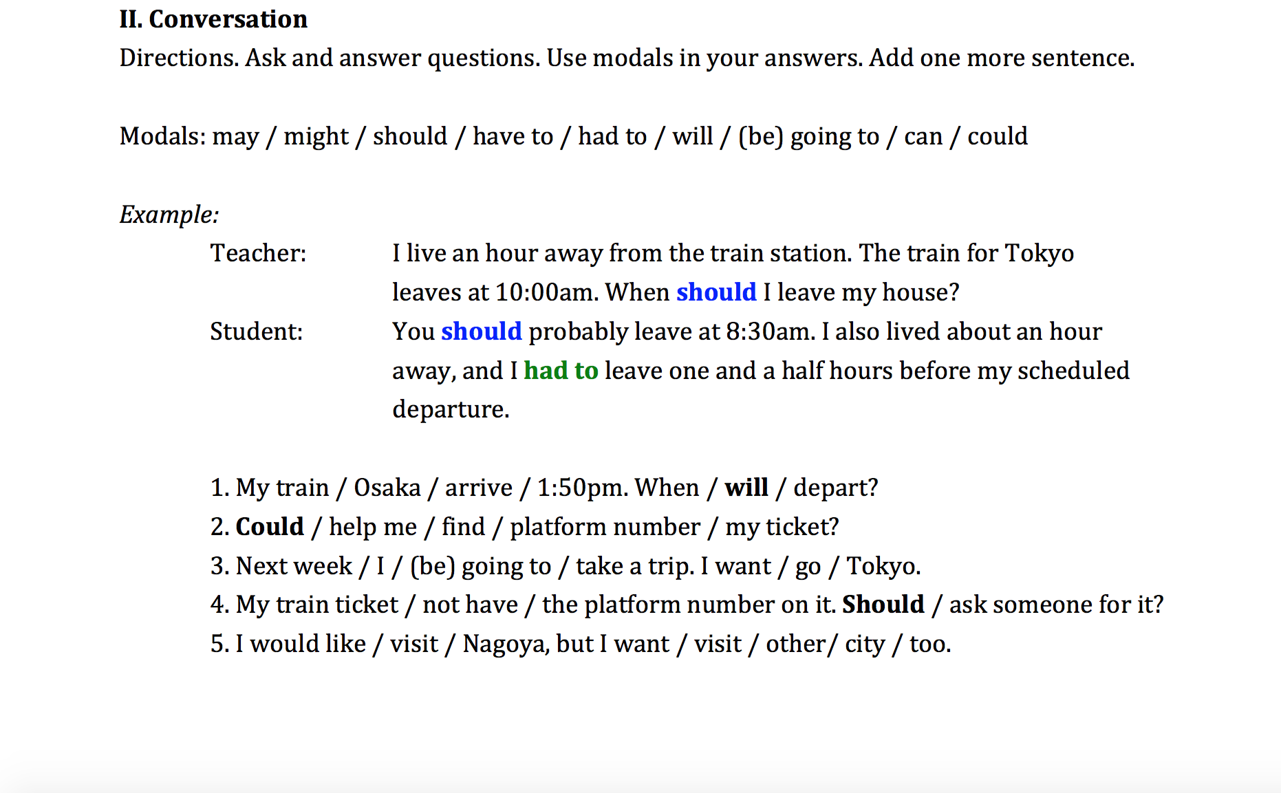 Train Schedule_Asking For and Receiving Advice Using Modals