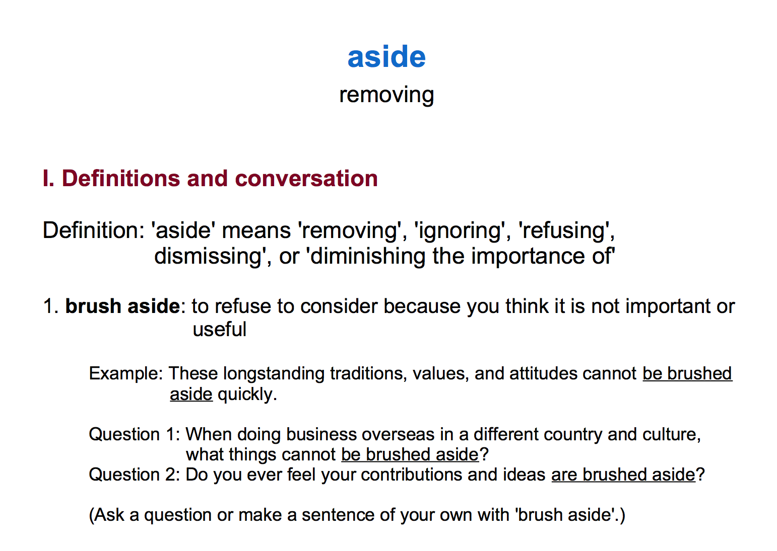 Advanced Phrasal Verb Course_'Aside' Means Removing | LOI